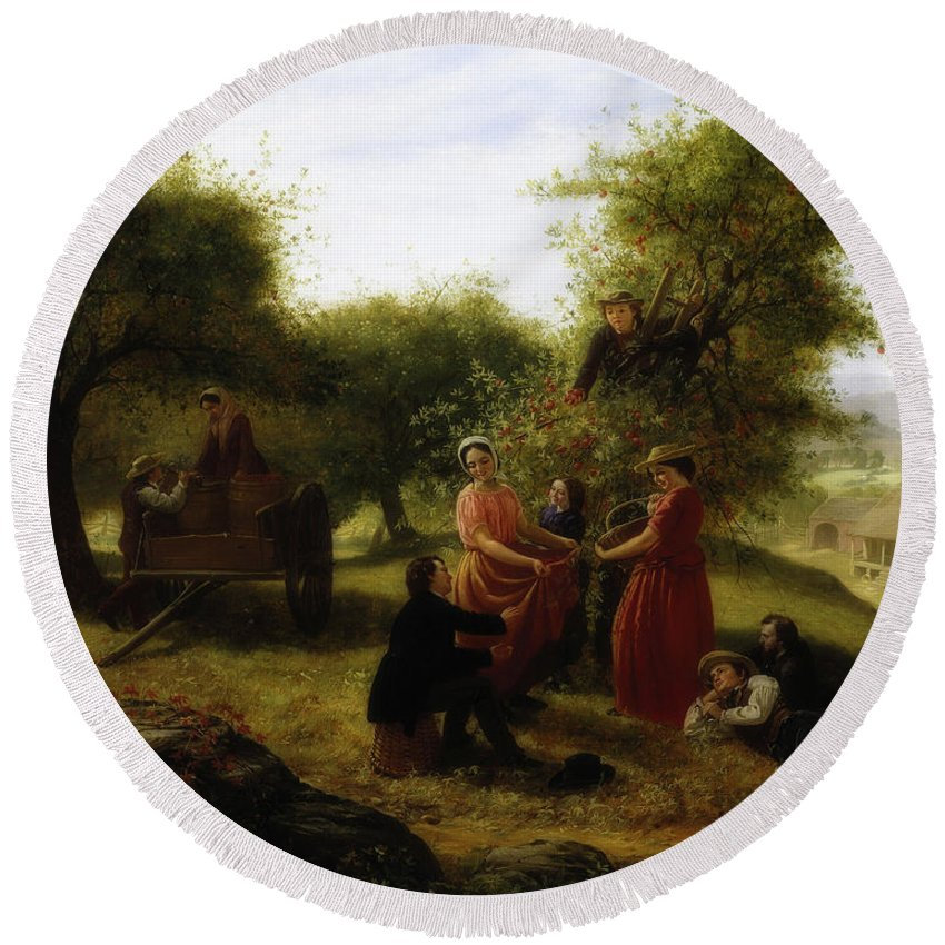 Jerome Thompson Round Beach Towel featuring the painting Apple Gathering by Jerome Thompson