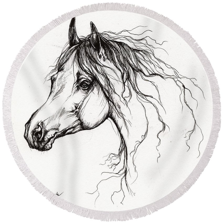 Horse Round Beach Towel featuring the drawing Arabian Horse Drawing 37 by Angel Ciesniarska