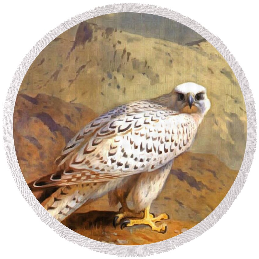 Archibald Thorburn Round Beach Towel featuring the painting Greenland Falcon by Archibald Thorburn