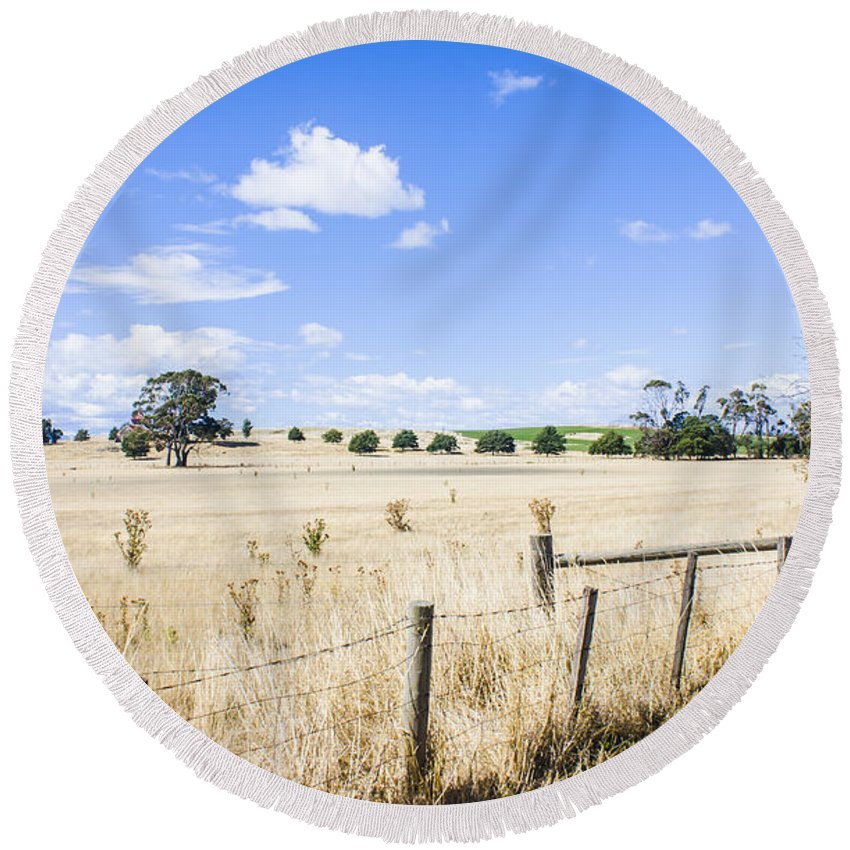 Tasmania Round Beach Towel featuring the photograph Arid Agricultural Landscape In South Tasmania by Jorgo Photography - Wall Art Gallery