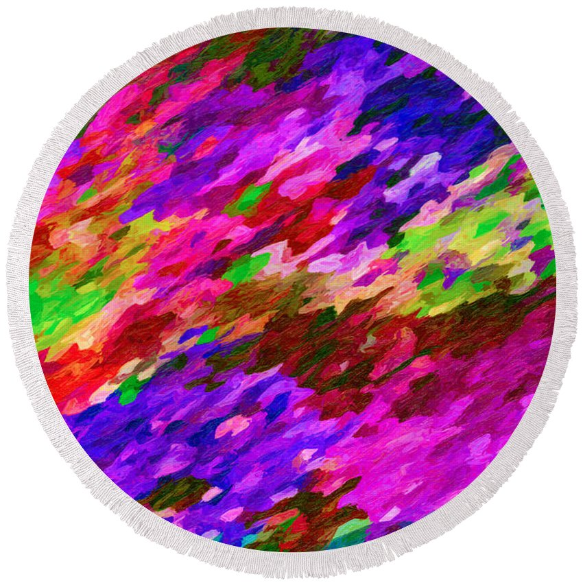 Art Round Beach Towel featuring the painting Art Abstract Background 97 by Jeelan Clark