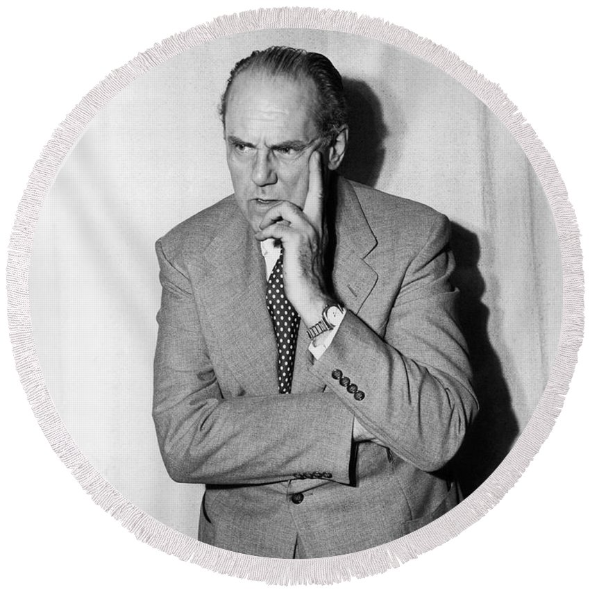 1 Person Round Beach Towel featuring the photograph Astronomer Edwin Hubble by Underwood Archives