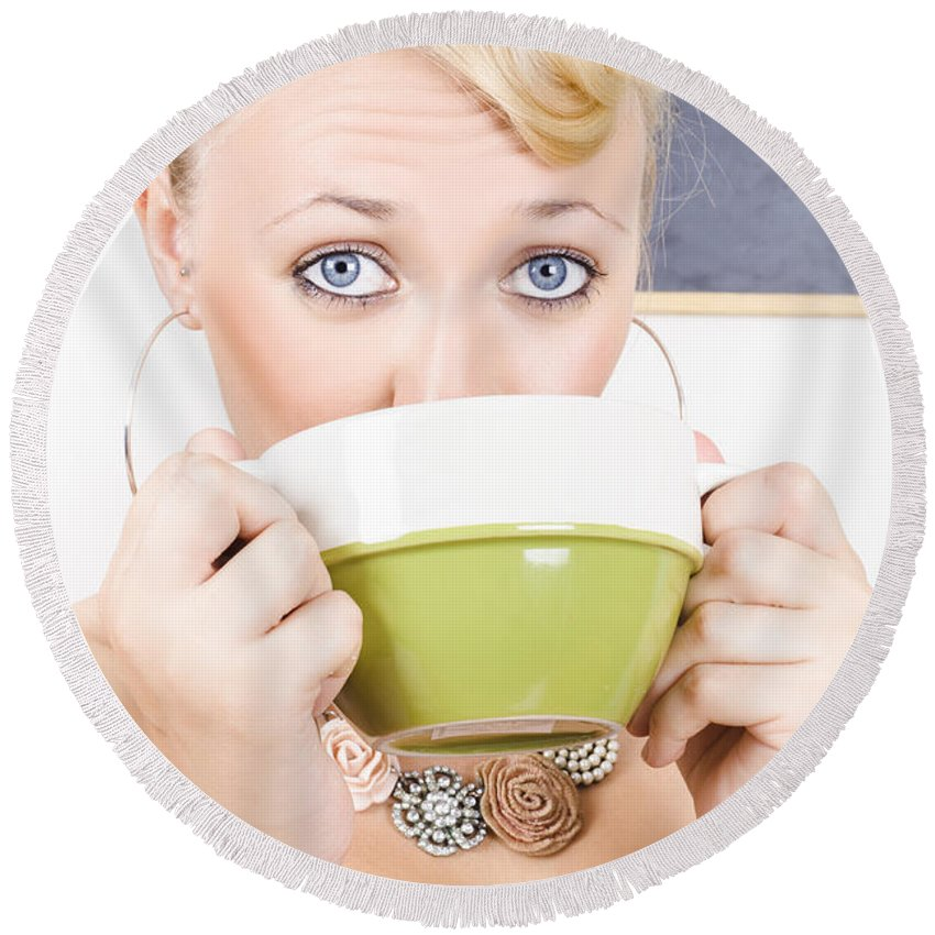 Adult Round Beach Towel featuring the photograph Attractive Blonde Woman Drinking Green Tea by Jorgo Photography - Wall Art Gallery