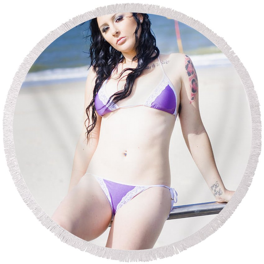 Attractive Round Beach Towel featuring the photograph Attractive Girl On The Beach by Jorgo Photography - Wall Art Gallery