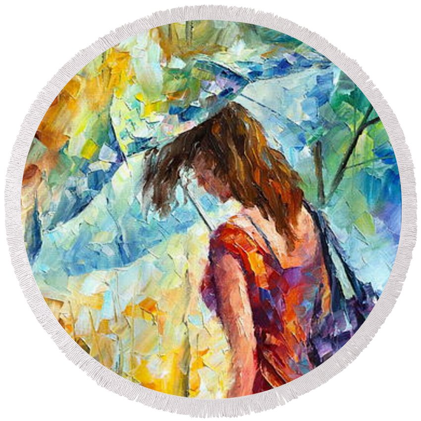 Afremov Round Beach Towel featuring the painting Aura Of Autumn 1 by Leonid Afremov