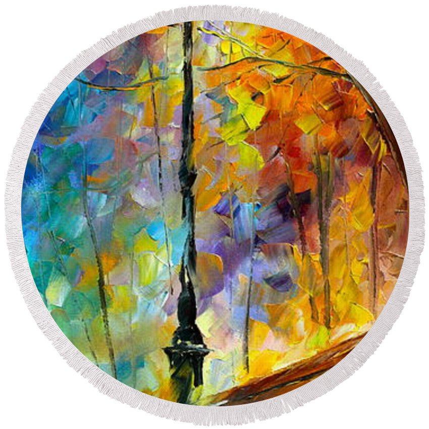 Afremov Round Beach Towel featuring the painting Aura Of Autumn 2 by Leonid Afremov