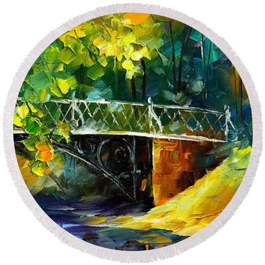 Afremov Round Beach Towel featuring the painting Aura Of Autumn 3 by Leonid Afremov
