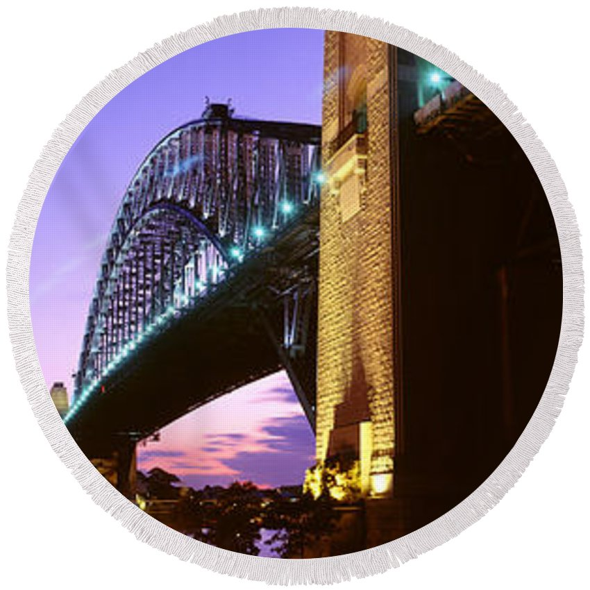 Photography Round Beach Towel featuring the photograph Australia, Sydney, Harbor Bridge by Panoramic Images
