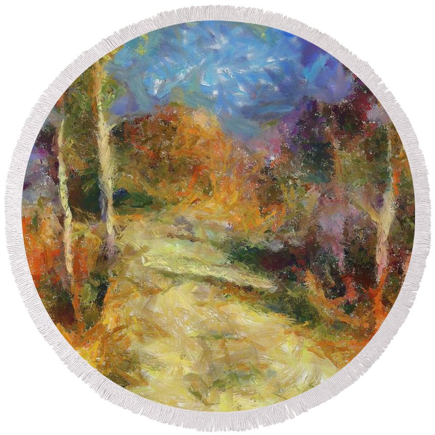 Landscapes Round Beach Towel featuring the painting Autumn Colors by Dragica Micki Fortuna