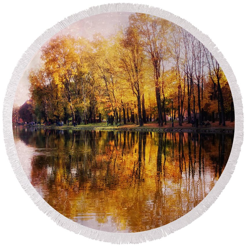 Autumn Round Beach Towel featuring the photograph Autumn by Justyna JBJart