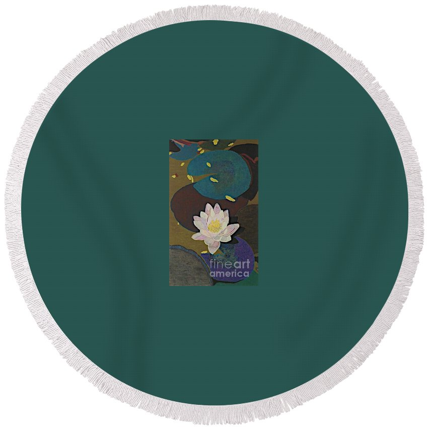 Landscape Round Beach Towel featuring the painting Autumn Lily by Allan P Friedlander