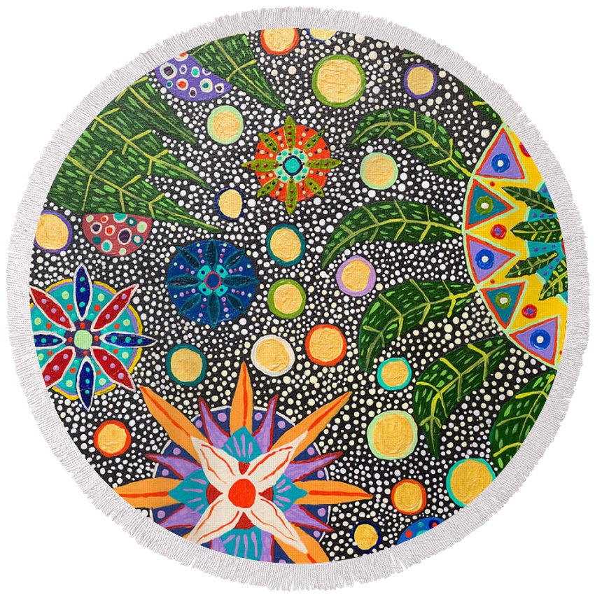 Ayahuasca Art Round Beach Towel featuring the painting Ayahuasca Vision by Howard Charing