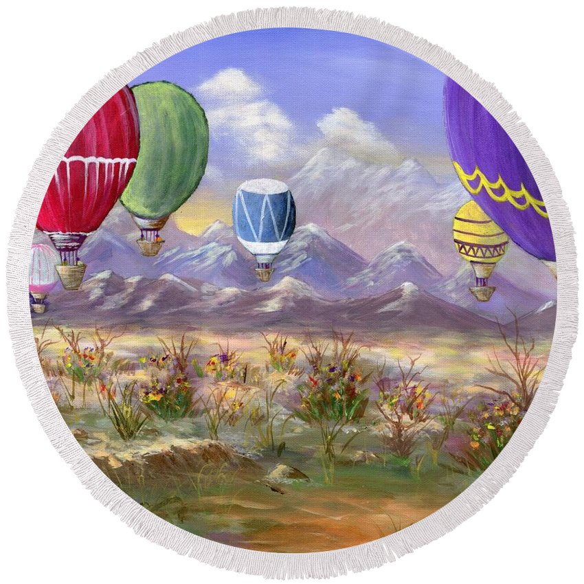 Hot Air Balloon Round Beach Towel featuring the painting Balloons by Jamie Frier