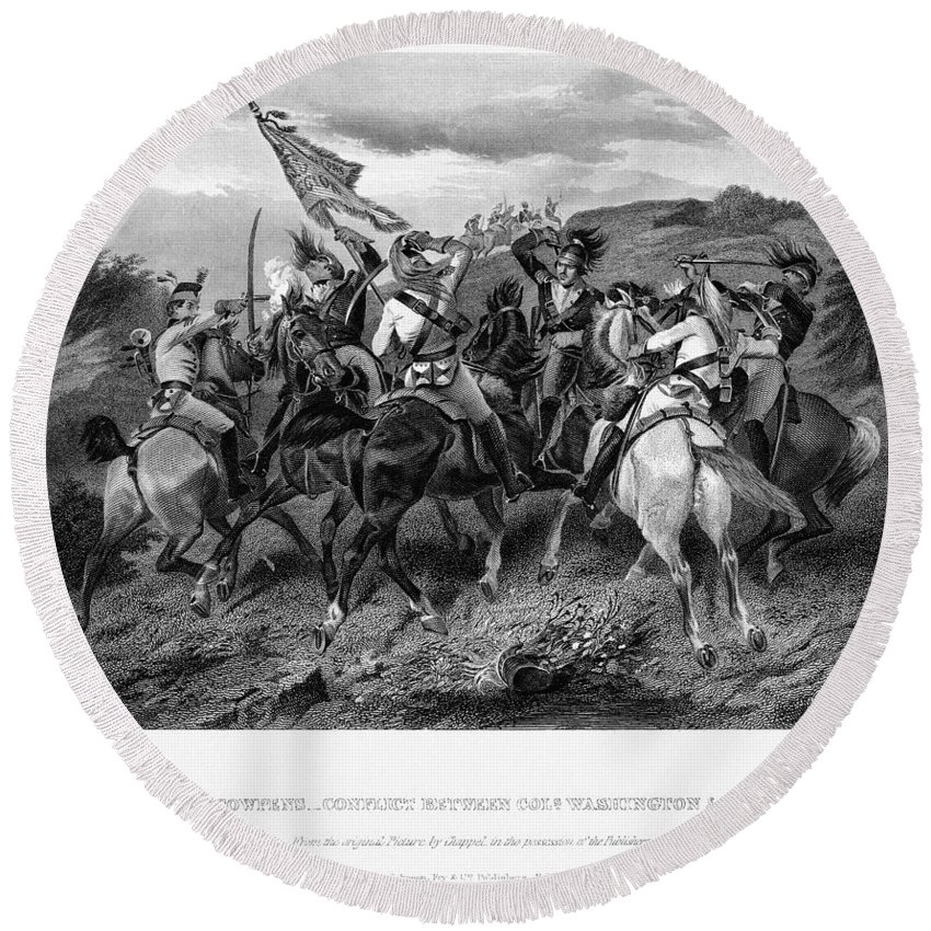 1781 Round Beach Towel featuring the photograph Battle Of Cowpens, 1781 by Granger