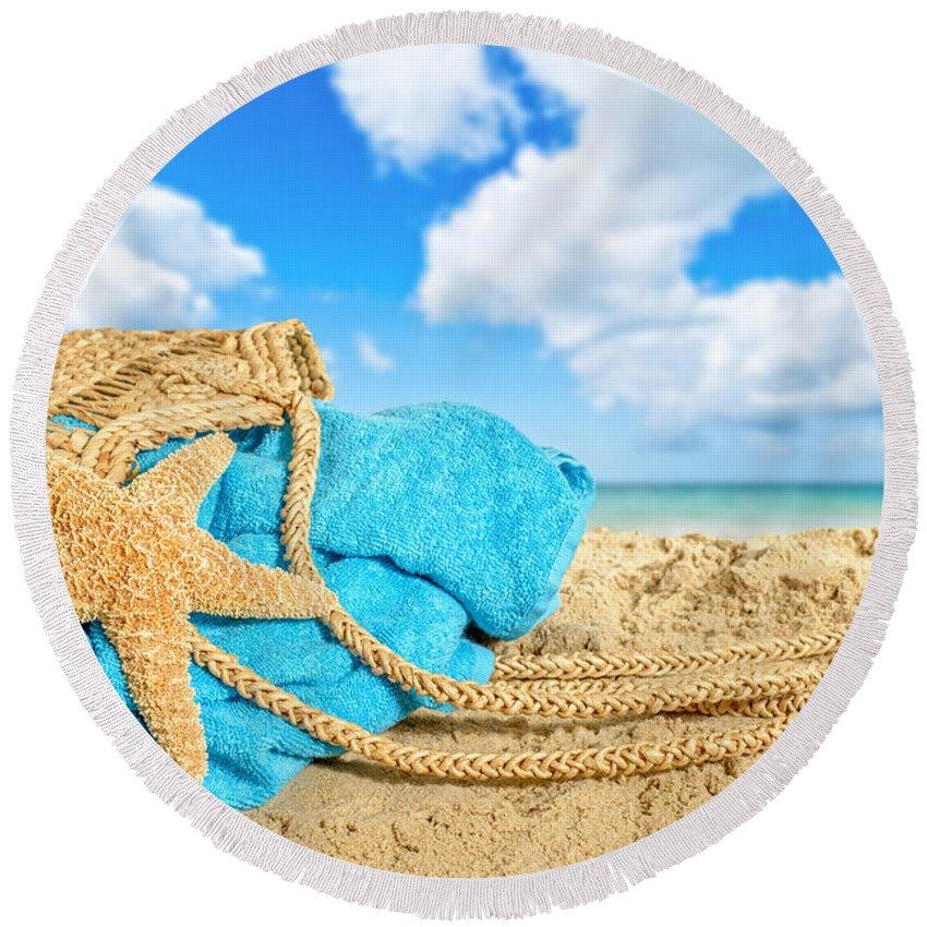 Bag Round Beach Towel featuring the photograph Beach Basket by Amanda Elwell