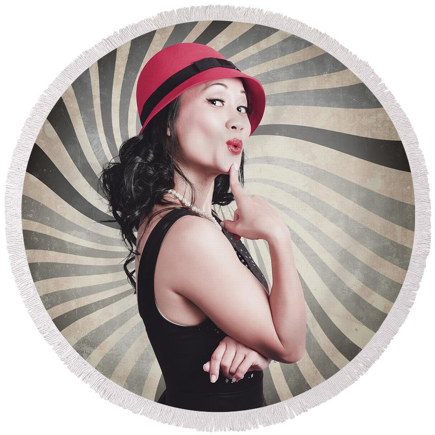 Hat Round Beach Towel featuring the photograph Beautiful Model In Vintage Fashion Accessories by Jorgo Photography - Wall Art Gallery