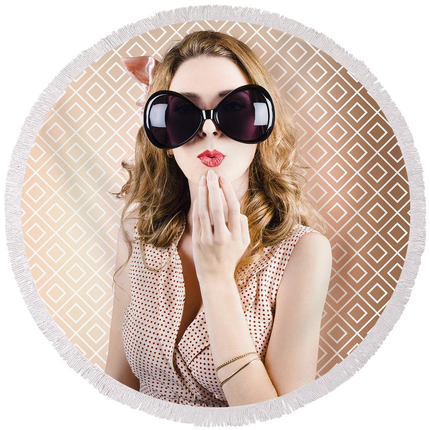 Sunglasses Round Beach Towel featuring the photograph Beautiful Surprised Girl Wearing Big Sunglasses by Jorgo Photography - Wall Art Gallery