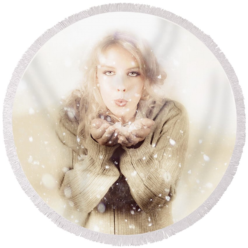 Adult Round Beach Towel featuring the photograph Beautiful Young Woman Blowing Snow In Winter Style by Jorgo Photography - Wall Art Gallery
