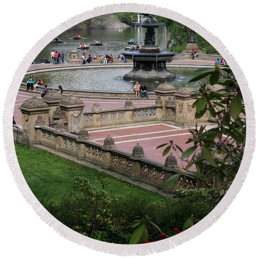 Bethesda Fountain Round Beach Towel featuring the photograph Bethesda Fountain - Central Park Nyc by Christiane Schulze Art And Photography