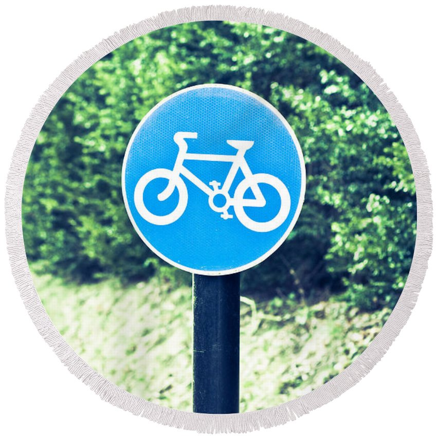 Attention Round Beach Towel featuring the photograph Bicyle Route by Tom Gowanlock