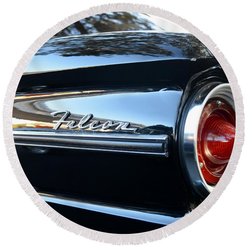 1963 Ford Falcon Round Beach Towel featuring the photograph Black Falcon by David Lee Thompson