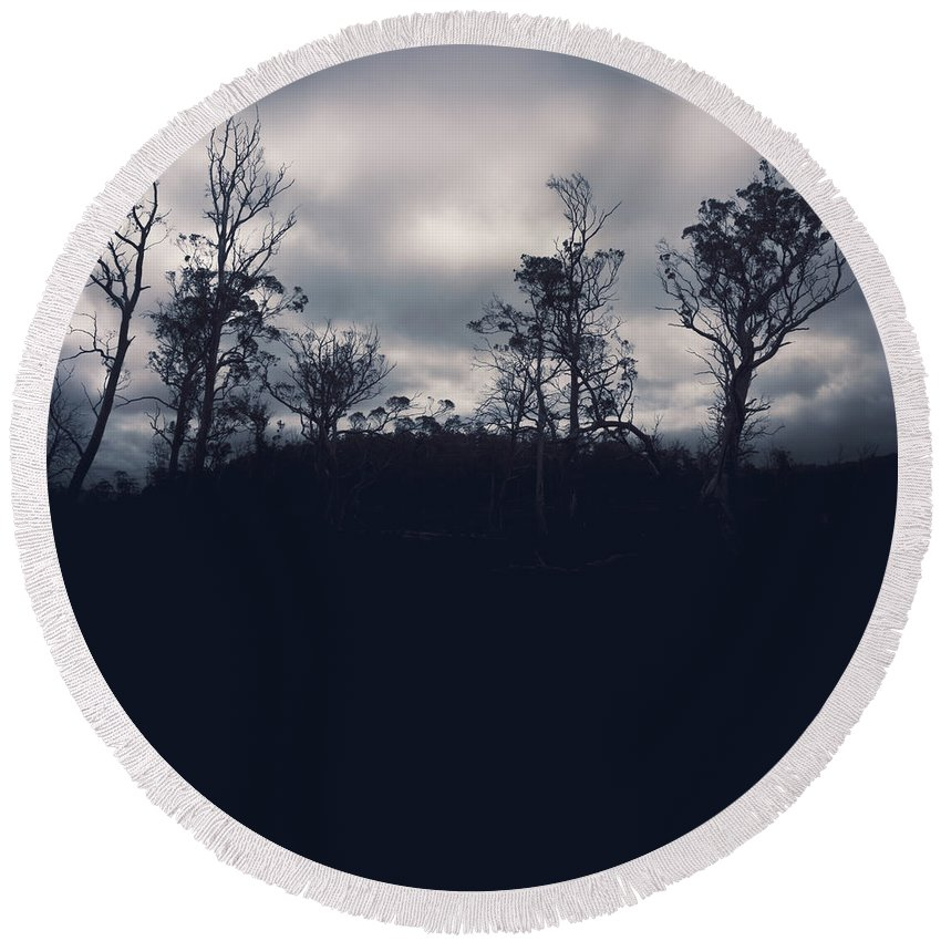 Silhouette Round Beach Towel featuring the photograph Black Silhouette Trees In Spooky Tasmanian Forest by Jorgo Photography - Wall Art Gallery