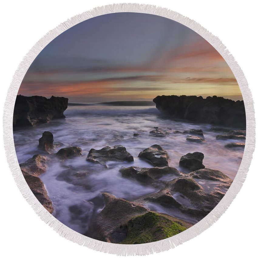 Clouds Round Beach Towel featuring the photograph Blowing Rocks by Debra and Dave Vanderlaan