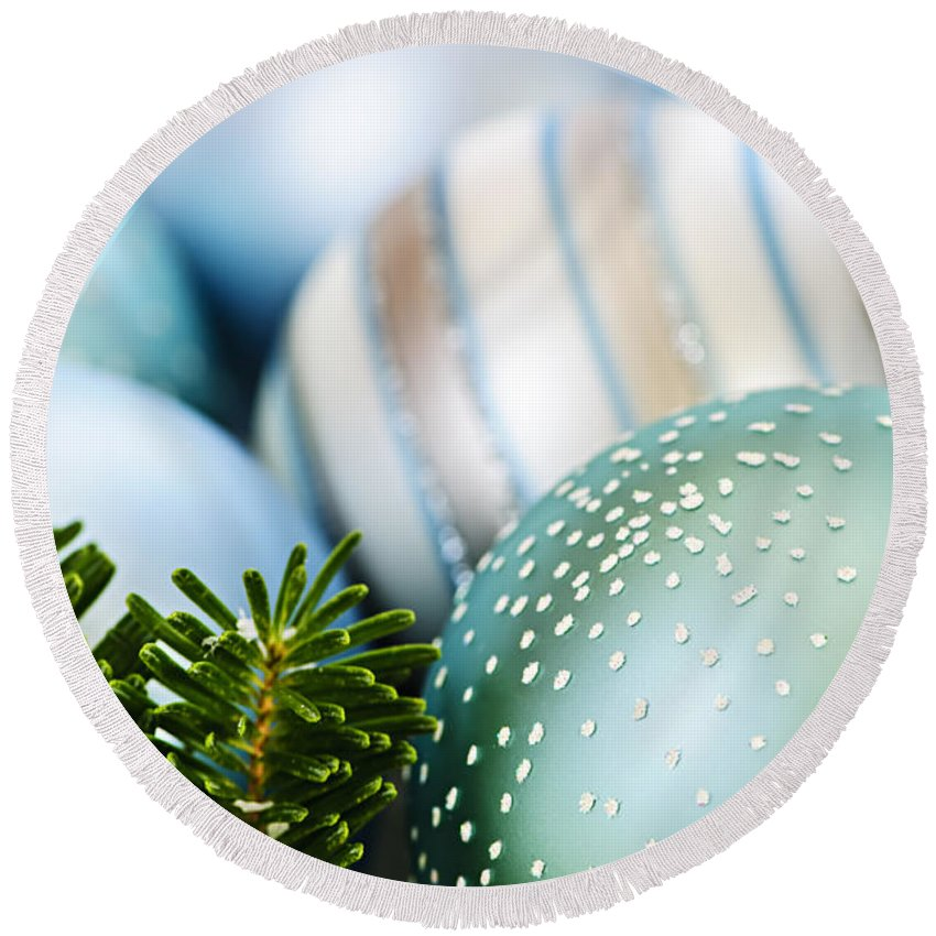 Christmas Round Beach Towel featuring the photograph Blue Christmas Ornaments by Elena Elisseeva