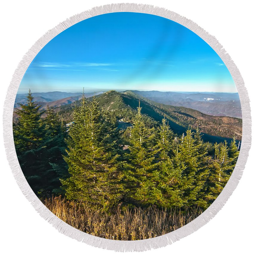 View Round Beach Towel featuring the photograph Blue Ridge Mountains North Carolina by Alex Grichenko
