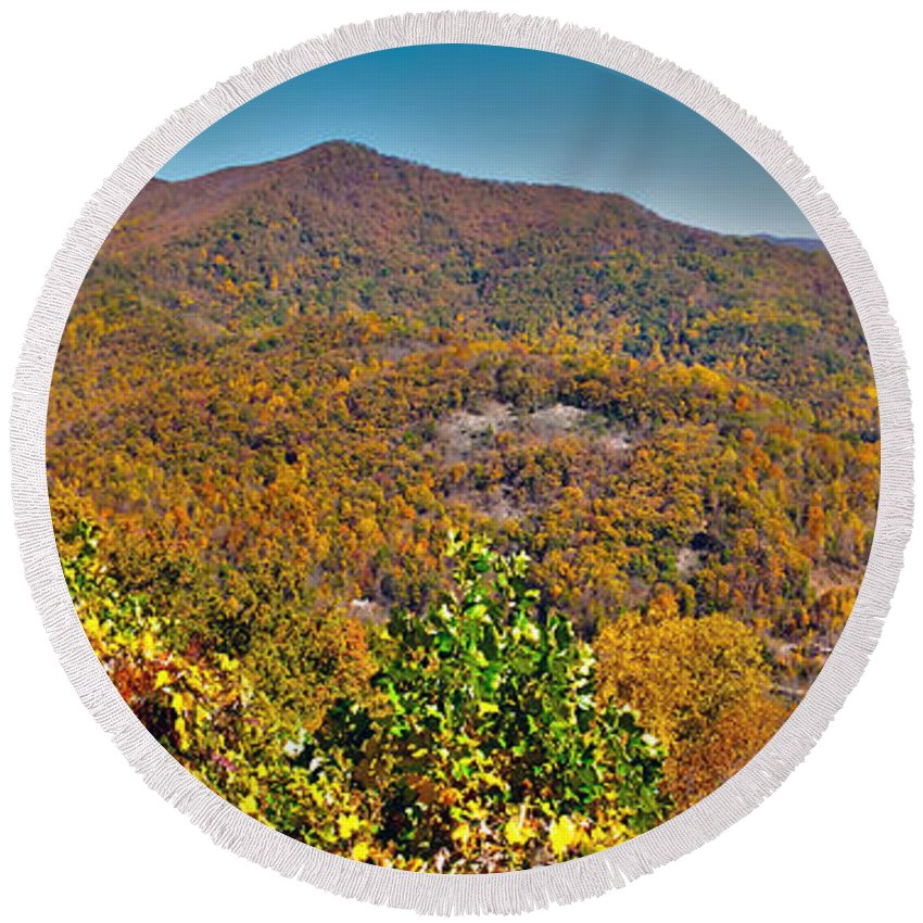 View Round Beach Towel featuring the photograph Blue Ridge Parkway by Alex Grichenko