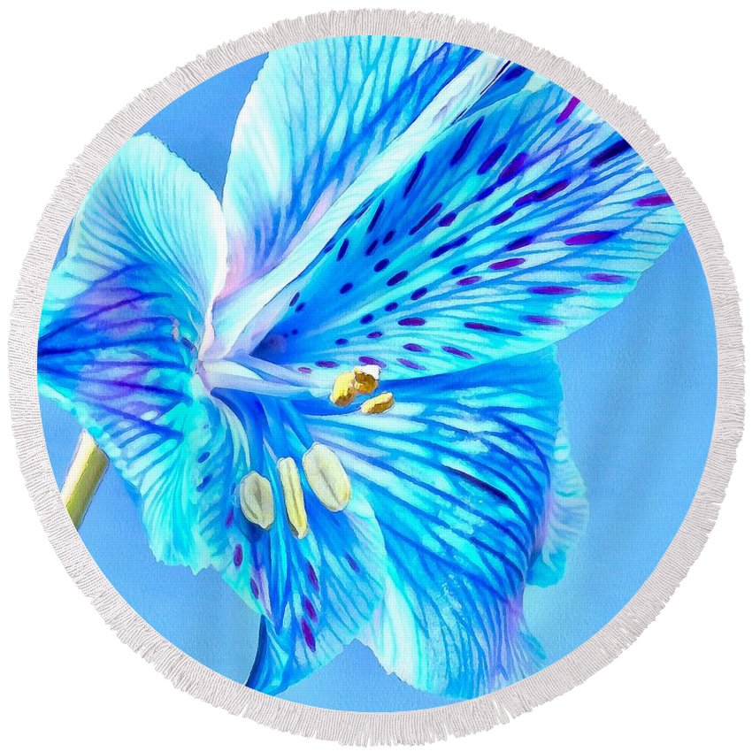 Amaryllis Round Beach Towel featuring the photograph Blue Summer by Krissy Katsimbras