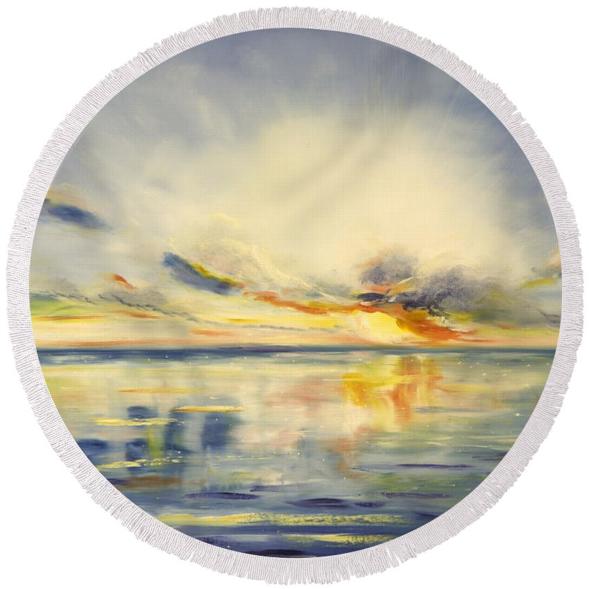 Blue Round Beach Towel featuring the painting Blue Sunset by Gina De Gorna