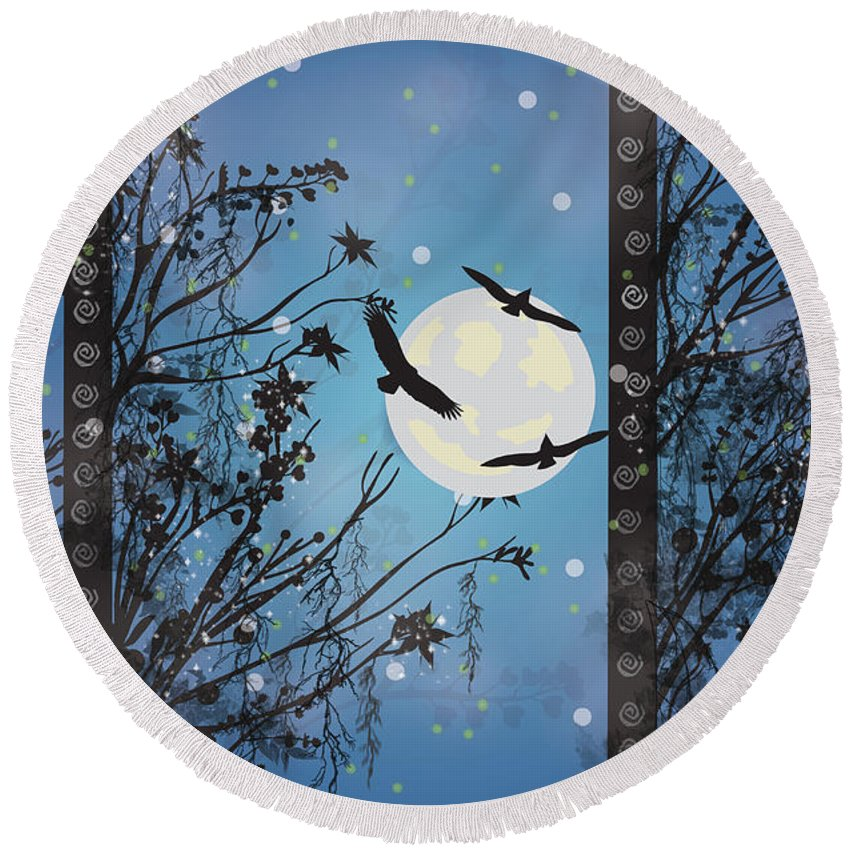 Eagles Flyiing Round Beach Towel featuring the digital art Blue Winter by Kim Prowse