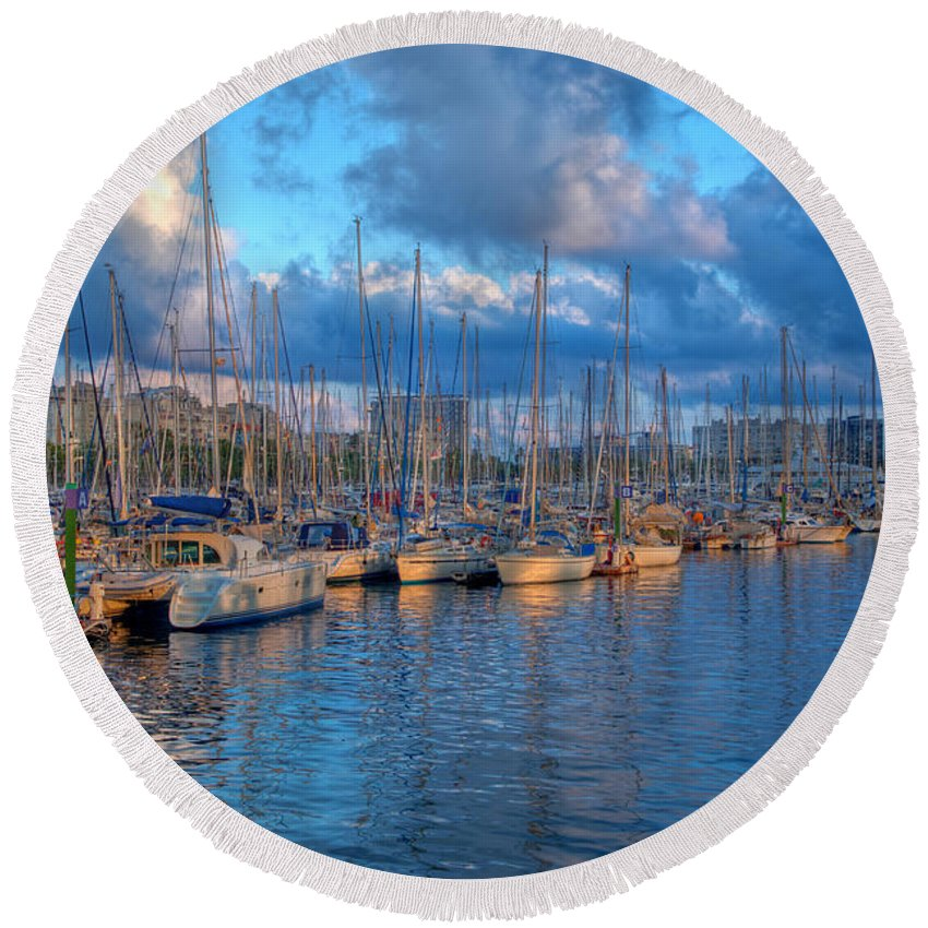 Harbor Round Beach Towel featuring the photograph Boats In The Harbor Of Barcelona by Michal Bednarek