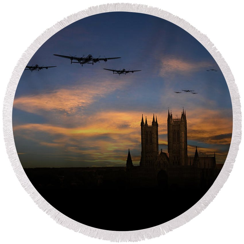 Lancs Over Lincoln Round Beach Towel featuring the digital art Bombers Over Lincoln by J Biggadike