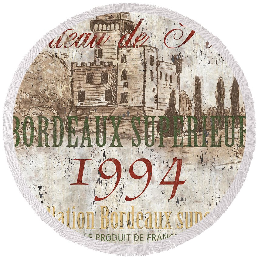 Wine Round Beach Towel featuring the painting Bordeaux Blanc Label 2 by Debbie DeWitt