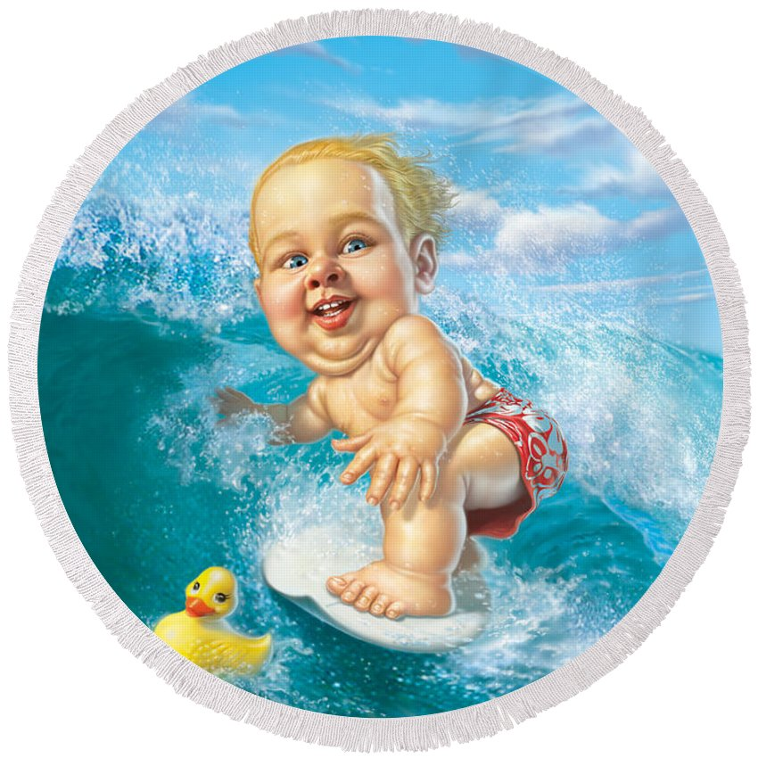 Baby Round Beach Towel featuring the digital art Born to Surf by Mark Fredrickson