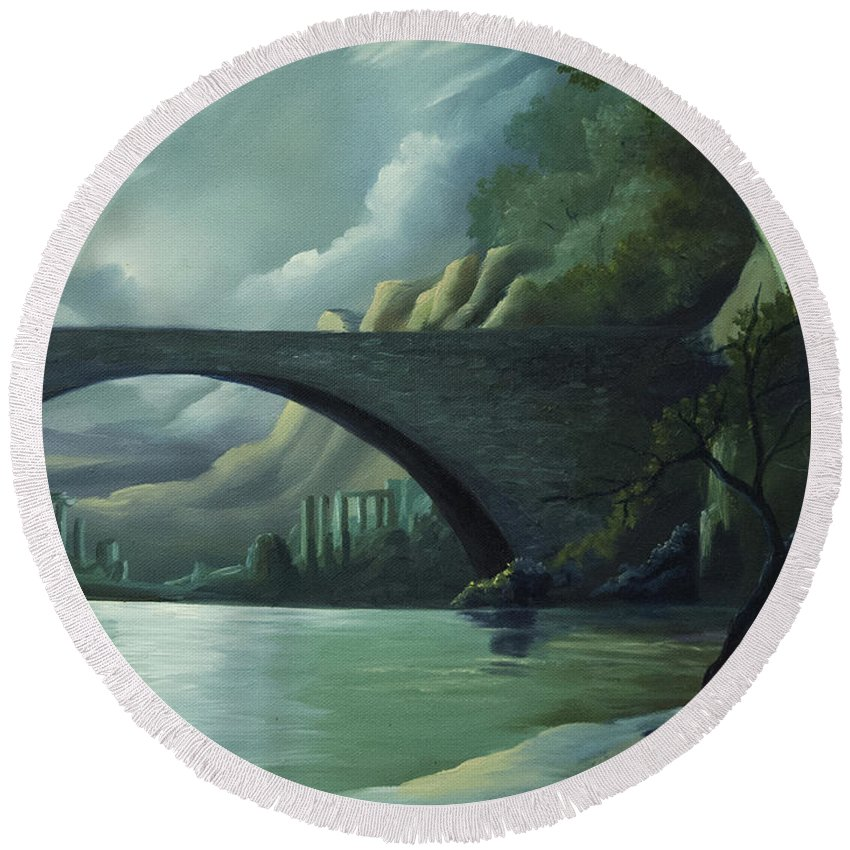 Ghosts Round Beach Towel featuring the painting Bridge to Nowhere by James Christopher Hill