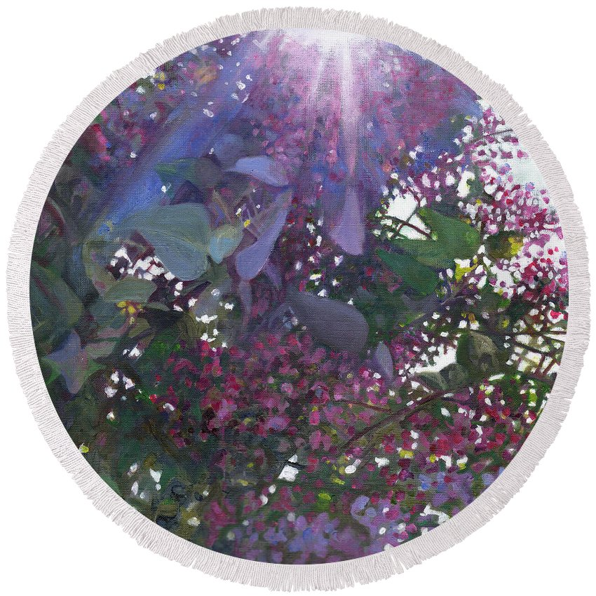 Purple Round Beach Towel featuring the painting Brilliance by Helen White