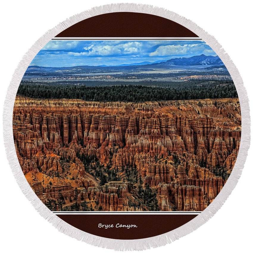 Utah Round Beach Towel featuring the photograph Bryce Canyon II by Tom Prendergast