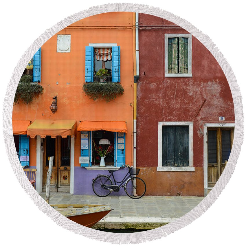 Ancient Round Beach Towel featuring the photograph Burano Italy by Brandon Bourdages