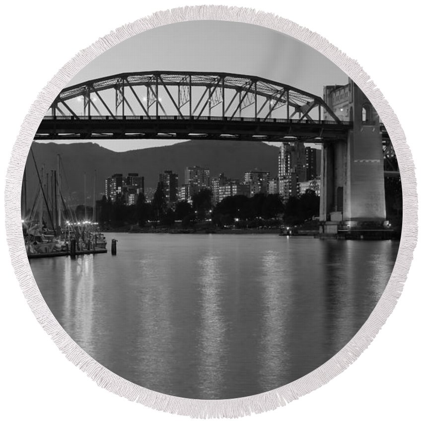 Black And White Round Beach Towel featuring the photograph Burrard Bridge At Dusk Vancouver Bc by Bill Cobb