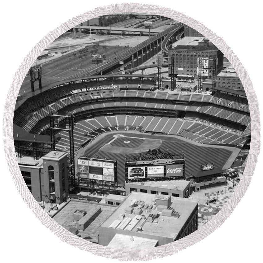 Black And White Round Beach Towel featuring the photograph Busch Stadium Saint Louis Mo by Bill Cobb