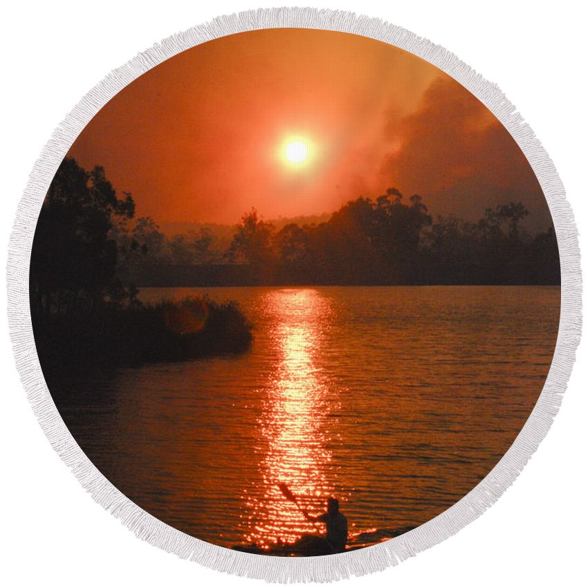 Australia Round Beach Towel featuring the photograph Bushfire Sunset Over The Lake by Rodney Appleby