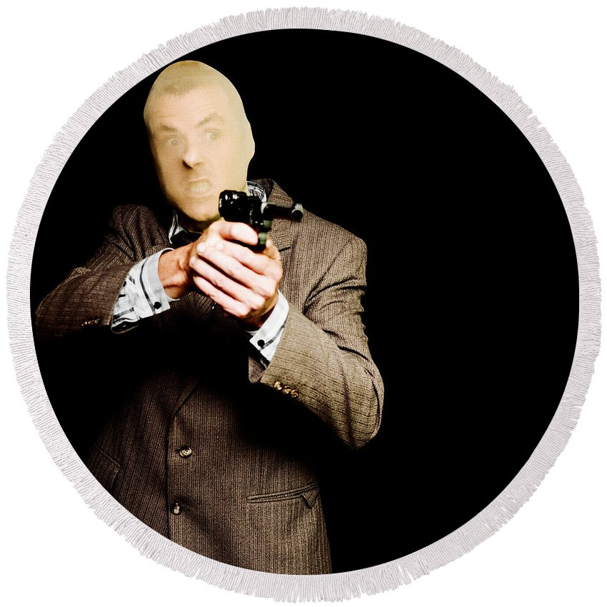 Adult Round Beach Towel featuring the photograph Business Man Or Corporate Crook Holding Gun by Jorgo Photography - Wall Art Gallery