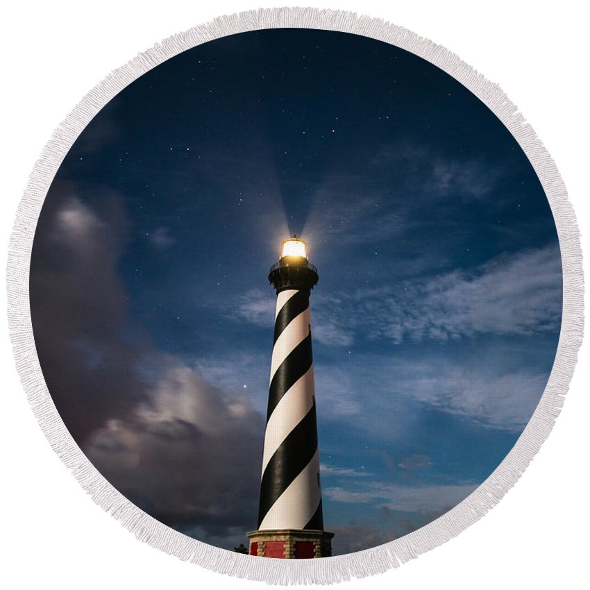 Cape Hatteras Round Beach Towel featuring the photograph By The Light Of The Moon by Stacy Abbott