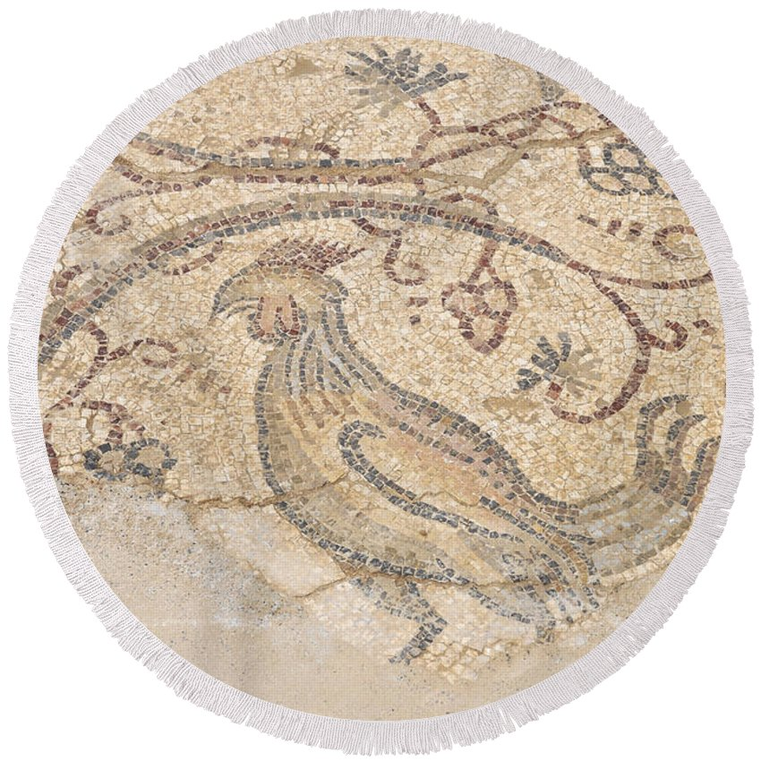 Mosaic Round Beach Towel featuring the photograph Byzantine Mosaic Depicting Animals And Hunting Scenes. by Shay Levy