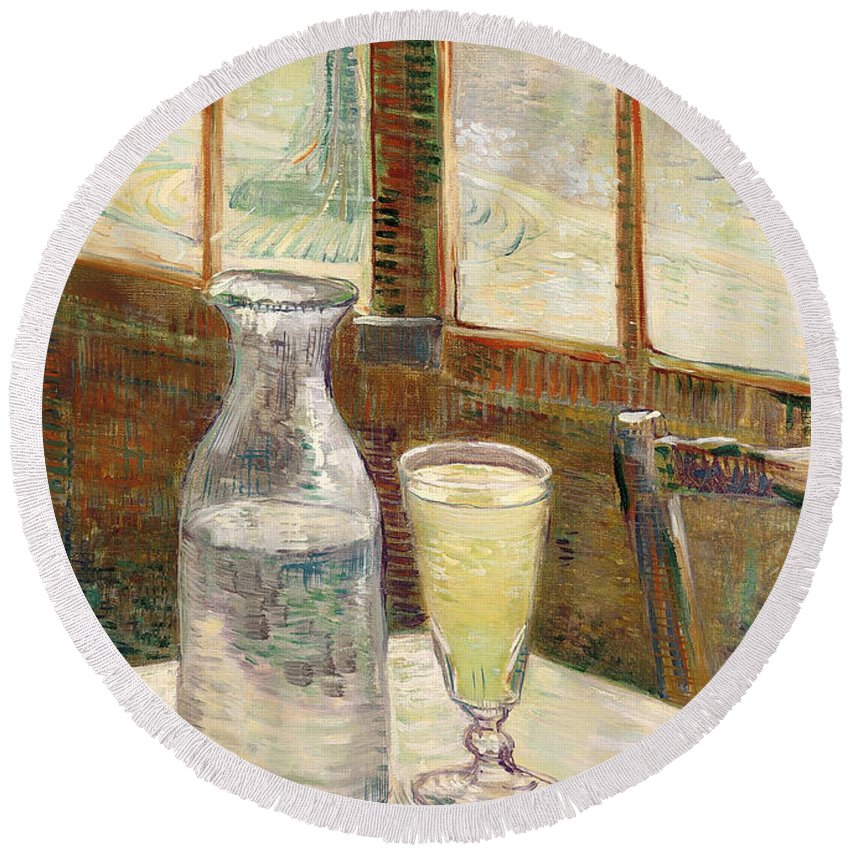 Painting Round Beach Towel featuring the painting Cafe Table With Absinth by Mountain Dreams