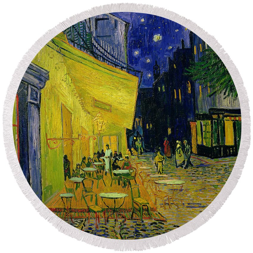 Cafe Terrace Round Beach Towel featuring the painting Cafe Terrace Arles by Vincent van Gogh