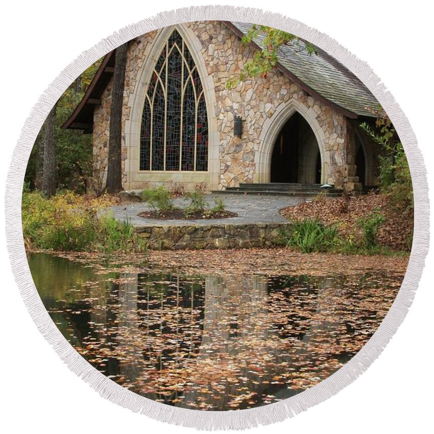 Chapel Round Beach Towel featuring the photograph Callaway Gardens Chapel-pine Mountain Georgia by Mountains to the Sea Photo